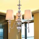 3 Lights Barrel Hanging Lamp Kit Post Modern Chrome Finish Fabric Chandelier Pendant Light