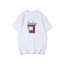 Simple Letter Sanfani Sheep Graphic Short Sleeve Crew Neck Loose Fit Tee Top