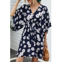 Casual Womens Allover Daisy Floral Printed Half Sleeves V-neck Drawstring Waist Short A-line Dress