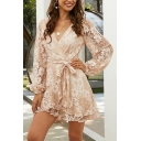 Floral Embroidered Lace Blouson Sleeve Surplice Neck Bow Tie Waist Gorgeous Mini Wrap Dress in Pink