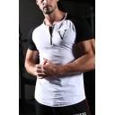 Letter V Print Contrasted Reglan Short Sleeve Crew Neck Half Zipper Curved Hem Gym Tee Top for Men