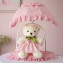 Fabric Pink Nightstand Light Canopy 1 Light Pastoral Table Lamp with Plush Bear Decoration