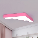 Pink/Yellow/Blue Stair Ceiling Fixture Kids Acrylic LED Flush Mount Lighting for Kindergarten