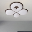 Baby Room LED Ceiling Mount Light Minimalist Grey/White/Coffee Flush Light with Clover Acrylic Shade