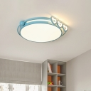 Macaron Round LED Ceiling Lighting Aluminum Kids Bedroom Flush Mount Lamp with Heart Love Edge in Pink/Blue