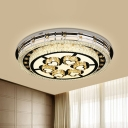 White Halo Flush Light Fixture Modern Crystal LED Living Room Ceiling Lamp with Heart Pattern