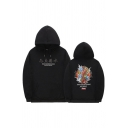 Guys Popular Chinese Letter Fish Graphic Long Sleeve Drawstring Pouch Pocket Relaxed Hoodie