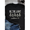 Letter Be The Light Light Graphic Short Sleeve Crew Neck Chic Regular Fit Black T Shirt for Girls