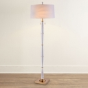 Drum Fabric Floor Light Modernism 2 Lights Bedroom Standing Lamp in White with Crystal Accent and Pull Chain
