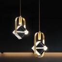 2-Head LED Multi Light Pendant Modern Style Cube Crystal Hanging Pendant in Gold