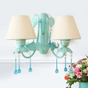 2 Lights Fabric Wall Lighting Korean Garden Blue Conical Living Room Sconce with Crystal Accent