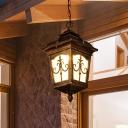 Antique Lantern Down Lighting 1-Light Ripple Glass Hanging Pendant Light in Black/Rust/Bronze for Balcony