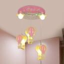 Balloon Shape Semi Flush Mount Cartoon Wood 5 Heads Pink/Blue Finish LED Ceiling Light Fixture
