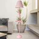 Nordic Conical Fabric Standing Light 1 Bulb Floor Lamp in White/Pink/Blue with Blue/Pink Bow and Plate for Living Room