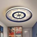 Kids LED Flush Mount Lighting Blue Rudder Ceiling Flush with Acrylic Shade in Warm/White Light