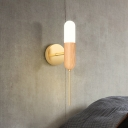 Pill Capsule Bedside Wall Lighting Wood 1 Head Simple Sconce Lamp with White Glass Shade
