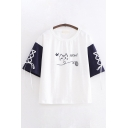 Preppy Girls Letter Meow Cat Embroidered Lace-up Contrasted Half Sleeves Round Neck Relaxed Fit T-shirt