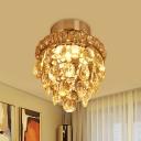 Chrome Tiered Flush Mount Lamp Modern Beveled K9 Crystal 1 Bulb Foyer Flush Light Fixture
