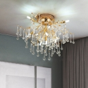 10 Heads Clear Crystal Semi Flush Traditional Gold Teardrop Living Room Ceiling Light