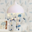White 3-Light Chandelier Modern Iron Dome Pendant Light with Blue Rose and Crystal Drape