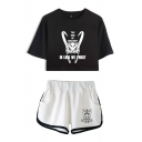 Letter I'm Loki We Trust Cartoon Graphic Short Sleeve Round Neck Relaxed Crop Tee & Contrasted Relaxed Shorts Popular Set for Girls