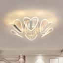 Mesh Loving Heart Shape LED Ceiling Light Modernism Clear Draping Crystal Semi Mount Lighting, 25.5