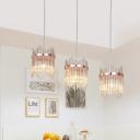 Crystal Rod Rose Gold Pendant Lamp Wave-Edge 3 Heads Modernism Multiple Hanging Light Fixture
