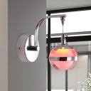 Chrome Ball Wall Hanging Light Simple Acrylic Living Room LED Wall Mount Lamp in 3 Color Light