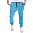 Leisure Mens Solid Color Drawstring Waist Long Length Cuffed Relaxed Fit Pants