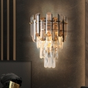 Tiered Tapered Bedside Flush Wall Sconce Mid Century 2-Light Smoke and Clear Crystal Wall Mounted Lamp