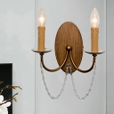 Rustic Flameless Candle Wall Light 2-Head Iron Sconce Lamp in Wood with Crystal Drape