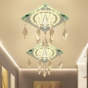 Rhombus Clear Crystal Flush Ceiling Light Contemporary Hallway LED Flush Mounted Lamp