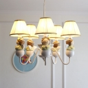 Angel Chandelier Light Fixture Kids Resin 5-Head Nursery School Hanging Lamp with Conical Shade in White