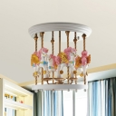 Hand Painted Unicorn Carouse Semi Flush Kids Style Resin 4-Light Blue/Pink/Red Ceiling Mount Chandelier