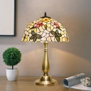 Shell Bowl Desk Lamp Mediterranean 2-Head Gold Pull Chain Table Lighting with Flower and Butterfly Pattern