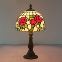 Cut Glass Bowl Shaped Night Table Lamp Baroque 1-Light Red/Pink Blossom Patterned Desk Light for Bedroom