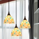 Bowl Shape Shell Multi Hanging Light Mediterranean 3 Lights Bronze Ceiling Pendant with Mosaic Pattern, Round/Linear Canopy