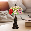 1 Bulb Bowl Night Table Lighting Baroque Purple/Pink Cut Glass Angel Nightstand Lamp with Bloom Pattern