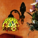 Bell Shade Dragonfly Wall Light Tiffany Handcrafted Glass 1 Head Bronze Sconce with Cabochons Gemstones