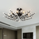 Faceted Crystal Flower Tree Flush Light Romantic Modern 10 Bulbs Living Room Semi Flush Mount Ceiling Light in Black