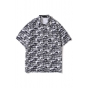 Black Beach Allover Cartoon Printed Short Sleeve Spread Collar Button up Loose Fit Shirt Top for Guys