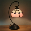 Hand Cut Glass Red/Pink Table Lamp Dome 1 Light Tiffany Style Grid Patterned Night Lighting with Curved Arm