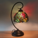 Cut Glass Grapes Nightstand Light Victorian 1-Head Dark Coffee Table Lamp with Bowl Shade for Bedroom