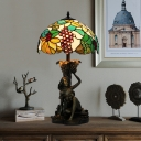 Maid and Grapes Table Light Baroque Resin 1-Bulb Green Night Lamp with Dome Tiffany Glass Shade