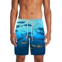 Blue Shark Ocean 3D Patterned Drawstring Waist Relaxed Straight Swimming Shorts for Men
