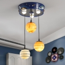 Planet Cluster Pendant Kids Stained Glass 3-Head Kid Bedroom Down Lighting in Blue