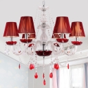6-Head Pleated Fabric Hanging Pendant Modern Red Conical Restaurant Chandelier with Beaded Crystal