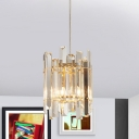 3-Sided Crystal Rod Clear Drop Lamp Cylindrical 2 Bulbs Minimalistic Chandelier Lighting