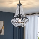 Octagon Crystal Beaded Basket Pendant Victorian Style 1 Bulb Dining Room Suspension Light in Black