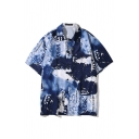Street Dark Blue Letter Print Tie Dye Short Sleeve Spread Collar Button down Relaxed Fit Shirt Top for Men